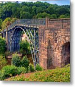 Abraham Derbys Iron Bridge Rural Landscape Metal Print