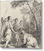 Abraham Kneeling Before The Three Angels Metal Print