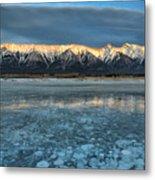 Abraham Lake Ice Bubble Sunset Metal Print