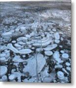 Abraham Lake Ice Bubbles Metal Print