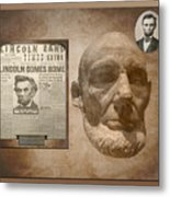 Abraham Lincoln Life Mask With Headlines Metal Print