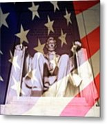 Abraham Lincoln Memorial Blended With American Flag Metal Print