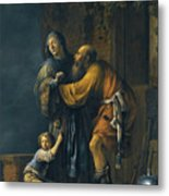Abraham Pleading With Sarah On Behalf Of Hagar Metal Print