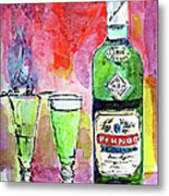 Absinthe Bottle And Glasses Watercolor By Ginette Metal Print