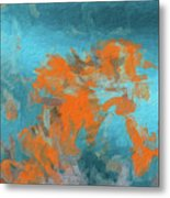 Abstract 104 Digital Oil Painting On Canvas Full Of Texture And Brig Metal Print