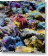 Abstract 133 Digital Oil Painting On Canvas Full Of Texture And Brig Metal Print