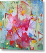 Abstract 2 With Inscribed Red Metal Print