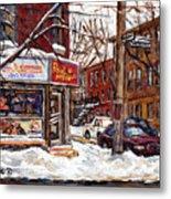 Rue De Pointe St Charles En Hiver Scenes De Rue De Montreal Peinture Originale A Vendre Paul Patates Metal Print