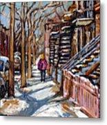 Scenes De Ville De Montreal En Hiver Original Quebec Art For Sale Montreal Street Scene Metal Print