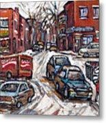 Ville Emard En Peinture Scenes De Ville De Montreal En Hiver Petit Format A Vendre Metal Print