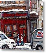 Dunn's Famous Deli Downtown Montreal Scenes De Rue Montreal Centre Ville En Hiver Joueur De Hockey Metal Print