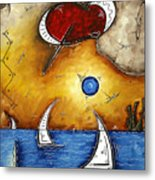Abstract Art Contemporary Coastal Cityscape 3 Of 3 Capturing The Heart Of The City I By Madart Metal Print