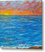 Abstract Art- Flaming Ocean Metal Print