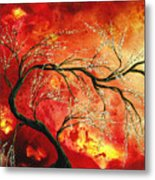 Abstract Art Floral Tree Landscape Painting Fresh Blossoms By Madart Metal Print