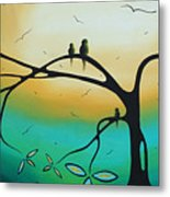 Abstract Art Landscape Bird Painting Family Perch By Madart Metal Print