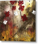 Abstract Art Original Flower Painting Floral Arrangement By Madart Metal Print
