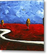 Abstract Art Original Landscape Painting Winding Road By Madart Metal Print