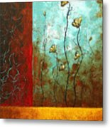 Abstract Art Original Poppy Flower Painting Subtle Changes By Madart Metal Print