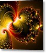 Abstract Art Yellow Golden Red Metal Effect Metal Print