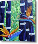 Abstract Bamboo And Birds Of Paradise 04 Metal Print
