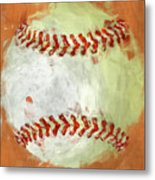 Abstract Baseball Metal Print