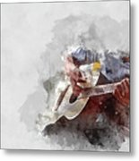 Abstract Beautiful Playing Guitar In The Foreground On Watercolor Painting Background. Metal Print