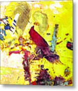 Abstract Bird On Yellow Metal Print