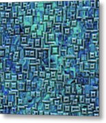 Abstract Blue And Green Pattern Metal Print