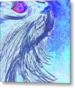 Abstract Blue Cat Metal Print