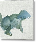 Abstract Blue Squirrel Metal Print