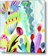 Abstract Cactus And Flowers Metal Print