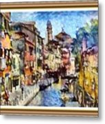 Abstract Canal Scene In Venice L A S With Decorative Ornate Printed Frame. Metal Print