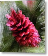 Abstract Christmas Card - Red Pine Cone Blast Metal Print