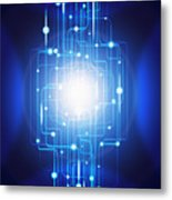 Abstract Circuit Board Lighting Effect  Metal Print