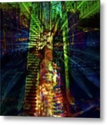 Abstract City In Green Metal Print