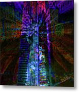 Abstract City In Purple Metal Print