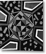 Abstract Cobblestone Blk/wht. Metal Print