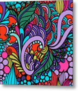 Abstract Colorful Floral Design Metal Print