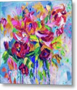Abstract Colorful Flowers Metal Print