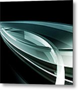 Abstract Curved Lines, Leaf Shape Metal Print