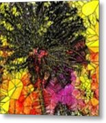 Abstract Dandelion Stained Glass Metal Print