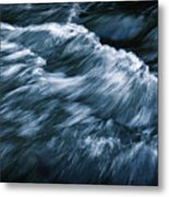 Abstract Dark Waves On The River Metal Print