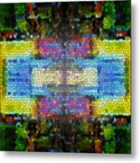 Abstract Digital Shapes Colourful Stained Glass Texture Metal Print