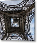 Abstract Eiffel Tower Looking Up Metal Print