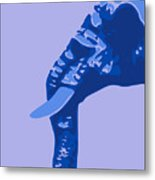 Abstract Elephant Doll Blue Metal Print
