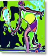 Abstract Female Tennis Player 2 Metal Print