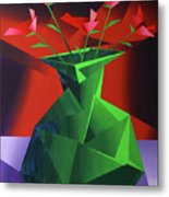Abstract Flower Vase Prism Acrylic Painting Metal Print by Mark Webster