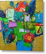 Abstract Flowers On Gold Contemporary Impressionist Palette Knife Oil Painting By Ana Maria Edulescu Metal Print