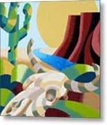 Abstract Futurist Soutwestern Desert Landscape Oil Painting  Metal Print
