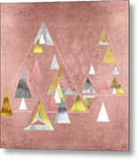 Abstract Geometric Triangles, Gold, Silver Rose Gold Metal Print